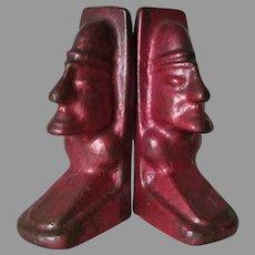 Antique Art Deco Bronze Bookends, Aztec or Mayan, Totem Pole Design