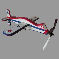Folk Art Whirligig, World War II Airplane in Patriotic Paint