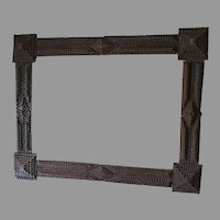 Large Antique Folk Art, Hand Carved Tramp Art Picture Frame