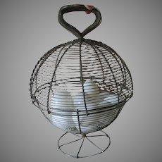 Primitive Antique Wire Ware Basket with a Dozen Blown Glass Eggs