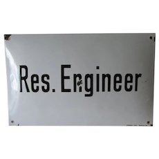 Vintage Enamel Sign, Resident Engineer, Advertising