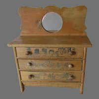 Charming Circa 1930s Doll Chest of Drawers with Nursery Rhymes