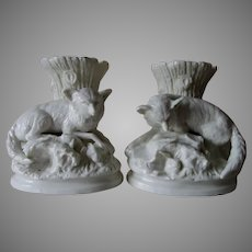 Pair Antique Circa 1860s Glazed Parian Porcelain Fox & Rabbit Vases