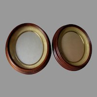 Pair c1860s Oval Deep Walnut Shadowbox Picture Frames