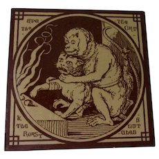 Antique Minton Tile, Aesops Fables by Moyr Smith, Brown Transferware