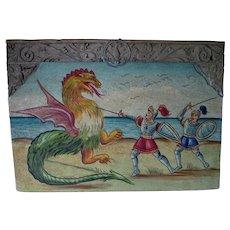 Antique Italian, Spanish Retablo, Knights & Dragon, Angels, Phoenix Bird