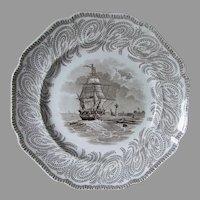 Antique c1830s Neptune Transfersware Staffordshire Plates, Ships, Samuel Alcock