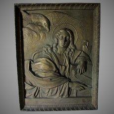 Antique Saint John the Evangelist, Cast Iron Christian Church Plaque