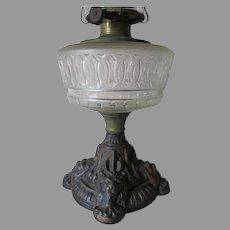 Antique c1880s Oil Lamp with Figural Lion Base, Cast Iron