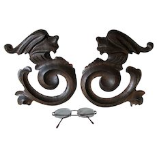 Antique Victorian, Gothic Carved Oak Gargoyle Architectural Elements
