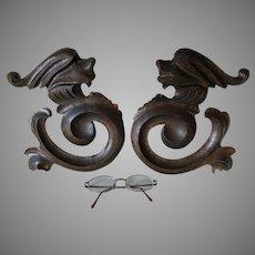 Antique Victorian, Gothic Carved Oak Gargoyle Architectural Elements