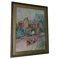 Antique Impressionistic Watercolor Painting of Soldiers in Village