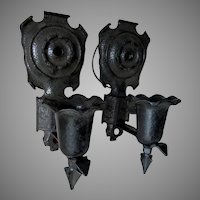 Antique Arts & Crafts Wall Sconces with Hammered Finish