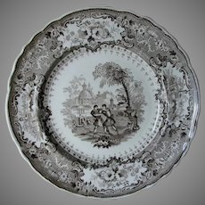 Antique Transferware c1830s Olympic Games Plate, Wrestlers, Thomas Mayer