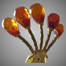 Antique Victorian Hair Comb with Amber Faceted Beads