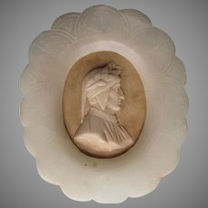 Antique Italian Carved Alabaster Plaque, Dante Alighieri, Grand Tour
