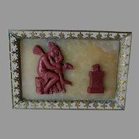 Antique Gilt Bronze Paperweight with Fairy & Cherub Angel
