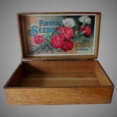 Antique D M Ferry & Co Advertising Flower Seed Box, Garden