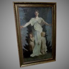 Beautiful Antique Print, Caritas, Charity by Abbott Thayer