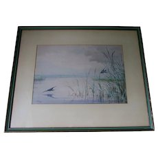 Beautiful c1875 Watercolor Gouache, Birds, Listed Artist Fidelia Bridges