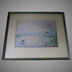 Beautiful c1875 Watercolor Gouache, Birds, Listed Artist Fidelia Bridges