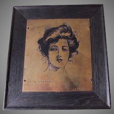 Antique c1903 Etched Plaque of Beautiful Woman, Signed Arthur Learned