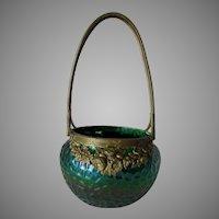 Antique Art Nouveau Art Glass Basket, Loetz, Kralik, Bronze Handle