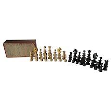 Antique French, Jeu D Echecs Boxwood Chess Set in Original Box