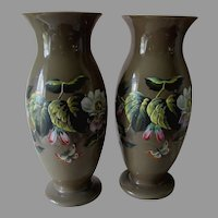 Antique c1880s Bristol Glass Opalescent Vases, Enamel Flowers & Butterflies