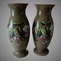 Antique c1880s Bristol Glass Opalescent Vases, Enamel Flowers & Butterflies