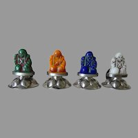 Antique Asian, Silver & Glass Place Card Holders with Hallmarks