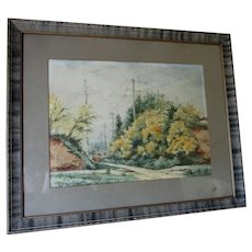Antique Watercolor Painting of a Train, Signed Eastman