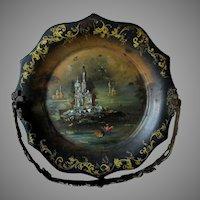 Antique c1870s English Tole Basket with Birds & Castles