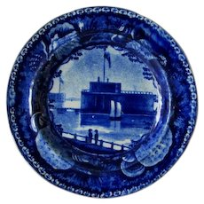 Antique c1820s Historical Blue Transferware Cup Plate Castle Battery Park, NY