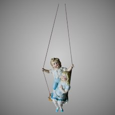 Antique c1890s Bisque Children on a Swing, Swinger Figurine