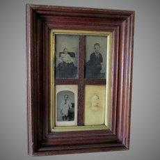 Antique c1860-1870s Deep Walnut Frame for Tintype, CDV's