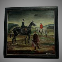 Circa 1927 Oil Painting, Equestrian Scene, Listed Artist Richard Hubbard