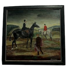 Circa 1927 Oil Painting, Equestrian Scene, Listed Artist Richard Hubbard