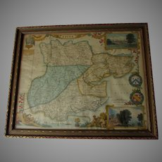 Antique c1850 Essex, England Hand Colored Map by Thomas Moule