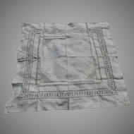 Lovely Antique Linen Drawn Work & Embroidered Tablecloth
