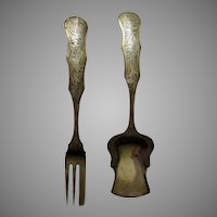 Circa 1920 Netherlands Serving Fork & Spoon, Hand Engraved, Hallmarked