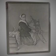 Antique Lithophane, Lithopane of a Lady at Spinning Wheel, PPM 502
