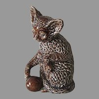 Antique Kitten with Yarn, Majolica, Money Box, Still Bank