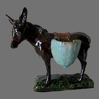 Antique J Filmont Caen, French Art Pottery Donkey, Mule Figurine
