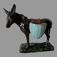 Antique J Filmont Caen, French Art Pottery Donkey, Mule Figurine