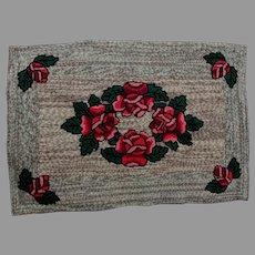 Vintage Folk Art, Hand Hooked, Rag Rug, Flowers & Hit or Miss Design