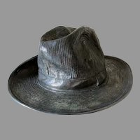 Vintage Silvered Bronze Sculpture of a Gentleman's Hat