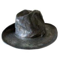 Vintage Silvered Bronze Sculpture of a Gentleman's Hat
