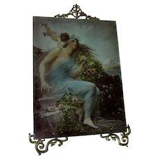 Beautiful Antique Art Nouveau, Cupid & Nude Lady Print on Glass