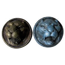 Pair Antique Hand Carved Architectural Lion Medallions